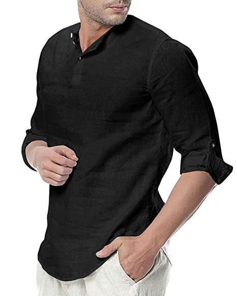 faf796c71434 Sibylla Men s Casual 3 4 Sleeve Linen Henley T-Shirt High Low Solid Beach