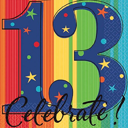 A Year to Celebrate 13th Birthday Party Stars and Rainbow Beverage Napkins Tableware, Pack of 16, Multi , 5