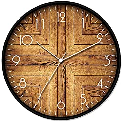 LONBUYS 12 Wood Print Wall Clock,Round Vintage Rustic Country Tuscan Style Home Decor Wall Clock for Kitchen Bedroom Office Home Silent & Battery Operated Indoor Clocks (3364-D)