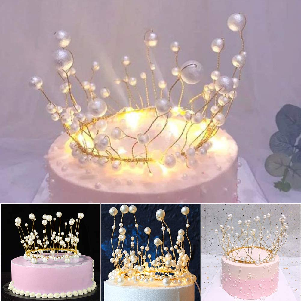 Litty089 Wedding Cake Topper Ornament Charming Princess Crown Headdress Style With Artificial Pearl Decoration For Birthday Party Amazon Co Uk Kitchen Home