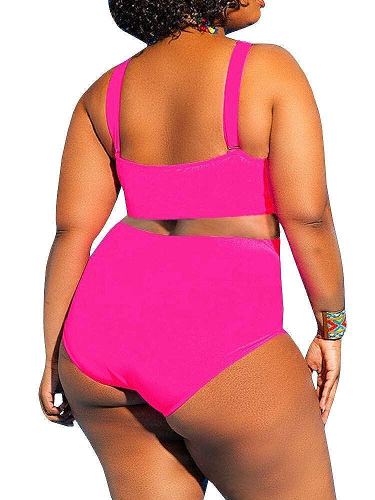 Yskkt Womens Plus Size Swimwear One Piece High Waist Swimsuits Tummy Control Swim Bathing Suits Monokini