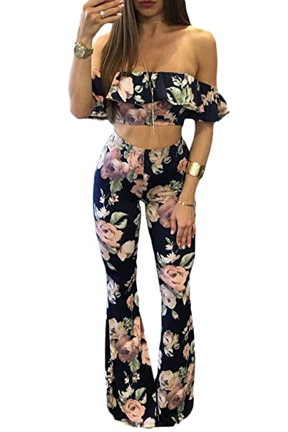 e2547cbba0 CutePaw Women's Floral Ruffled Off Shoulder Bandeau Crop Top and Long Flare  Trousers Leggings Pant Set at Amazon Women's Clothing store: