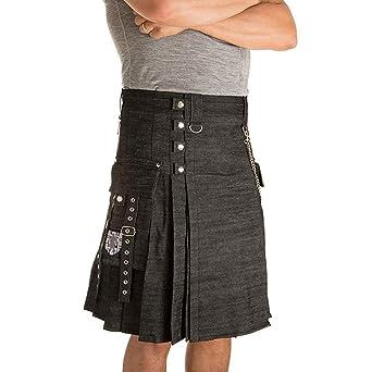 BIKETAFUWY - Falda para hombre Scottish Kilt Combat con bolsillo ...