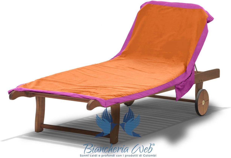 BIANCHERIAWEB Telo Mare in Microfibra da Lettino Modello Comodo 75x185 Arancio-Fucsia