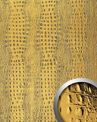 WallFace 14300 CROCO Wall panel leather 3D interior decor luxury wallcovering decoration self-adhesive gold | 2,60 sqm by Wallface (Image #1)'