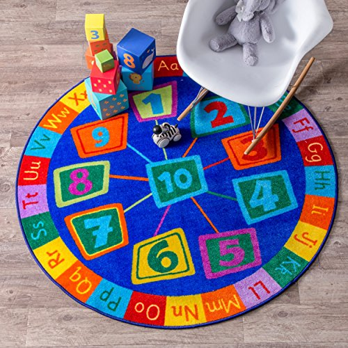 (nuLOOM MCGZ06A Number Circles Kids Rug, 8' Round,)