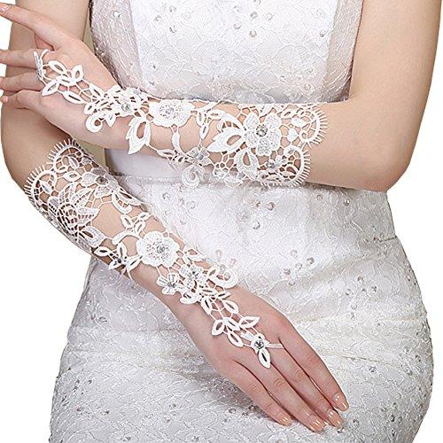 TBNA Bridal Women's Lace Elbow Length Fingerless Rhinestone Wedding Gloves (One Size, (Fingerless Bridal Gloves)