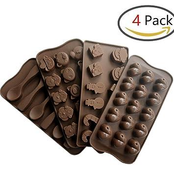 Molde de Silicona para Chocolate 4 Piezas Forma de Corazón & Navidad & Animal & Cuchara