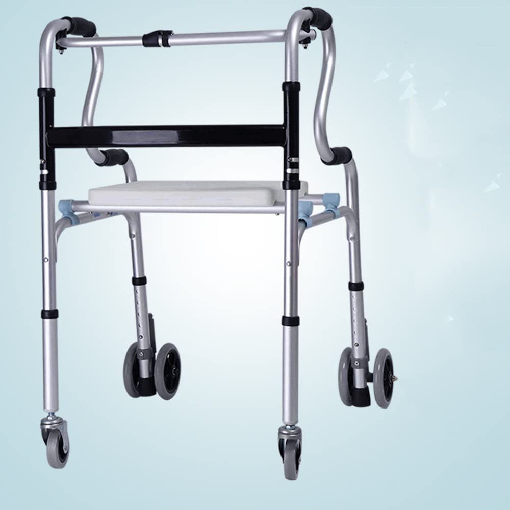 Taburete de Ducha Marco para Caminar (con Ruedas) Altura Ajustable Médico Ligero (Color : A (Wheels Are Removable))