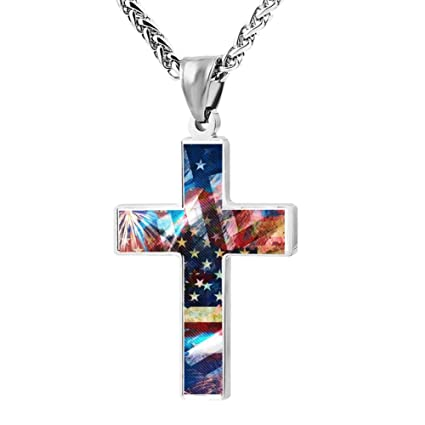 Amazon Newnecklace Symbols Of American Flag Couples Jesus