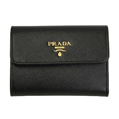 9790269b24 Prada Black Saffiano Leather W Metal logos Tri-fold Wallet 1MH840 Nero