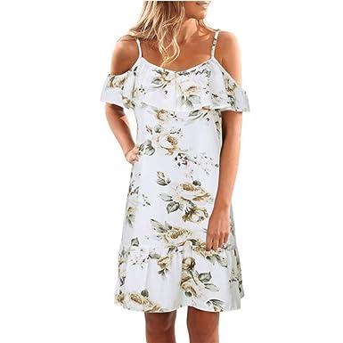 Elecenty-Vestito Lungo Elegante Donna Cerimonia Abito Maniche Vestiti Stampa  Floreale Casual Mode Bohemian Abiti da Spiaggia Sera Cocktail Maxi Dress ... a5bf21a1483