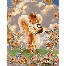 Wowdecor Paint by Numbers Kits for Adults Kids, Number Painting - Kindly Angel and Cute Kitten in the Garden 16x20 inch (Framed)