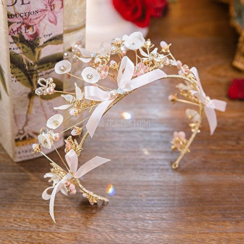 Generic The bride flowers hand-beaded diamond bow crown tiara tiara headdress wedding with accessories 2086 by Generic