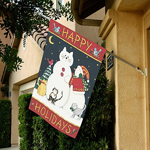 WECE Merry Christmas and Happy Holidays with Snowman Cats Oxford Cloth House Flag House Banner, Decorative Yard Flag for Christmas Home Outdoor Decor, 28