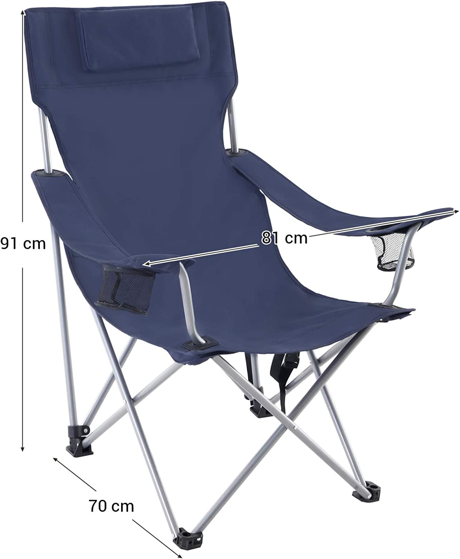 SONGMICS Campingstuhl Klappstuhl Outdoor-Stuhl mit Armlehnen Kopfstütze 150kg