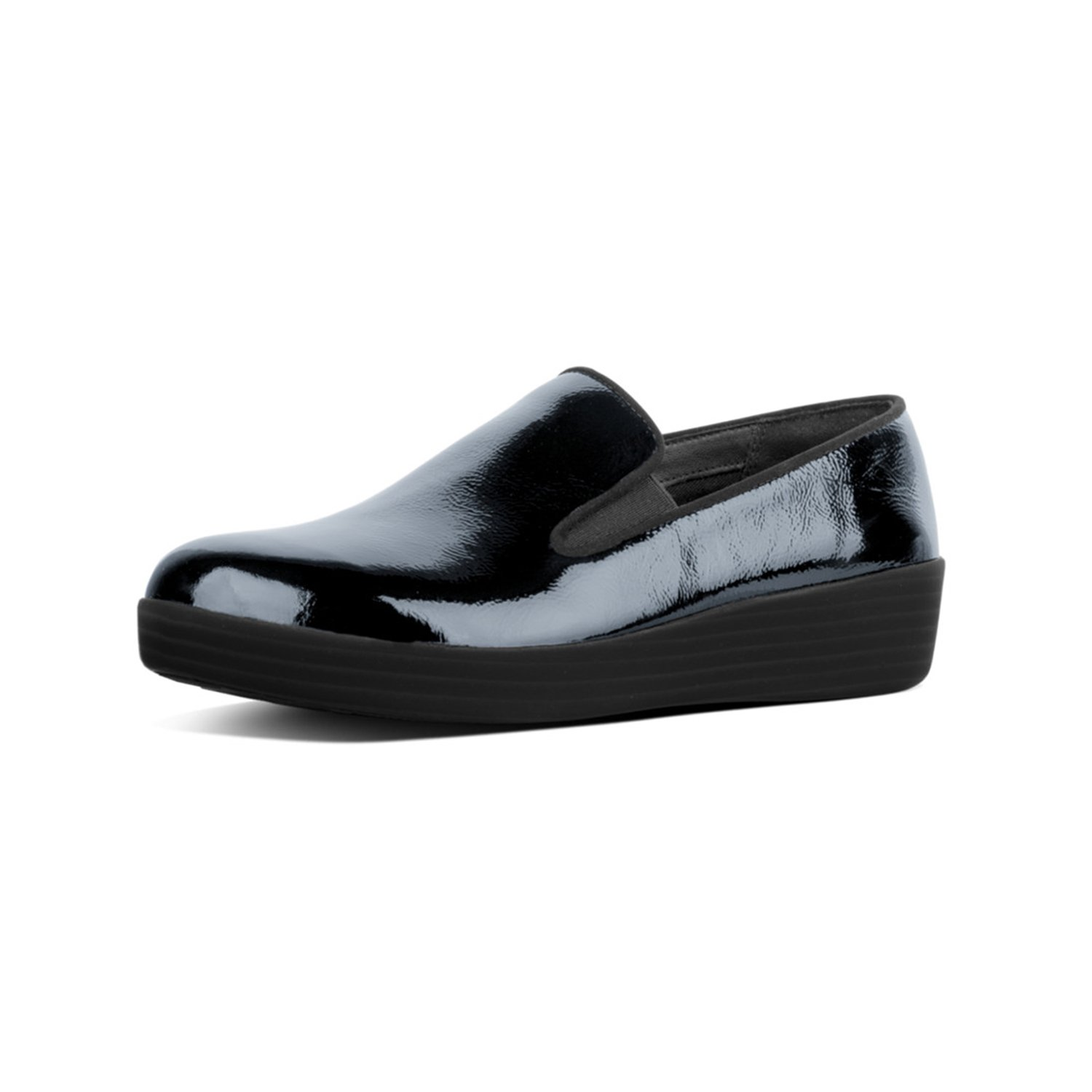 FitFlop Womens Superskate Patent Slip On Loafer Shoes, Midnight Navy, US 5
