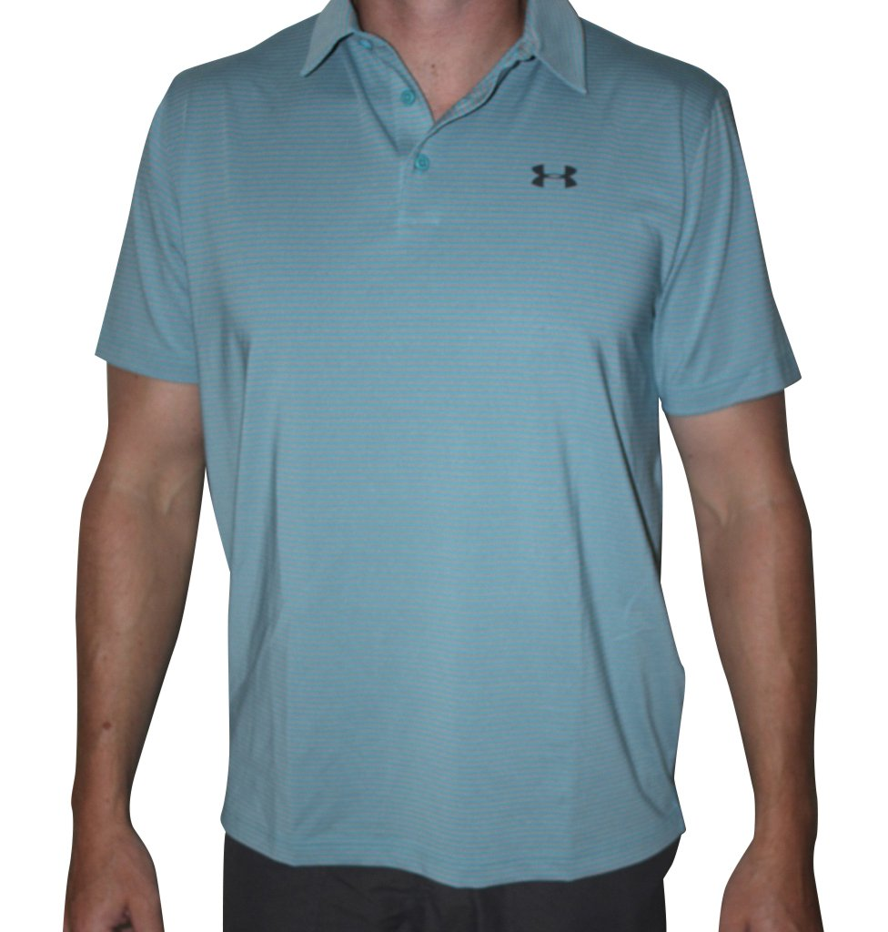 Under Armour Men's UA Elevated Heather Stripe Polo (Large, Blue (478))