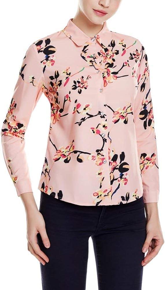 Blusa Camisa Damas Rosa Vintage Elegante Flor Impreso Tops Botón Ropa Solapa Camisa De Manga Larga Blusa Camisas (Color : Pink, Size : S): Amazon.es: Ropa y accesorios