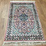 Yilong Carpet Hand Knotted Tabriz Persian Silk Rug Handmade Floral Traditional Carpet (3-Feet-by-5-Feet, Red)...