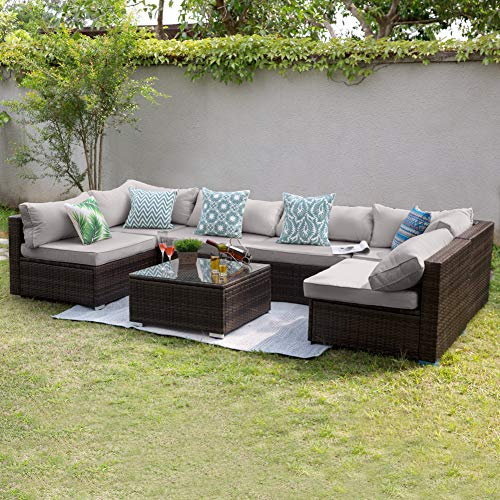 Tribesigns 7 PCS Patio Furniture Sectional Sofa Set, Extra Large Outdoor Wicker Sofa Conversation Set Rattan Couch with Waterproof Cushions for Garden, Porch, Backyard, Lawn, Poolside (Gray)