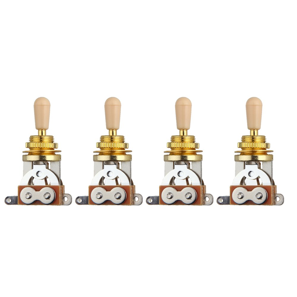 Kmise MI0086H4 4-Piece Golden Electric Guitar 3 Way Toggle Switch Pickup Selector with Cream Tip