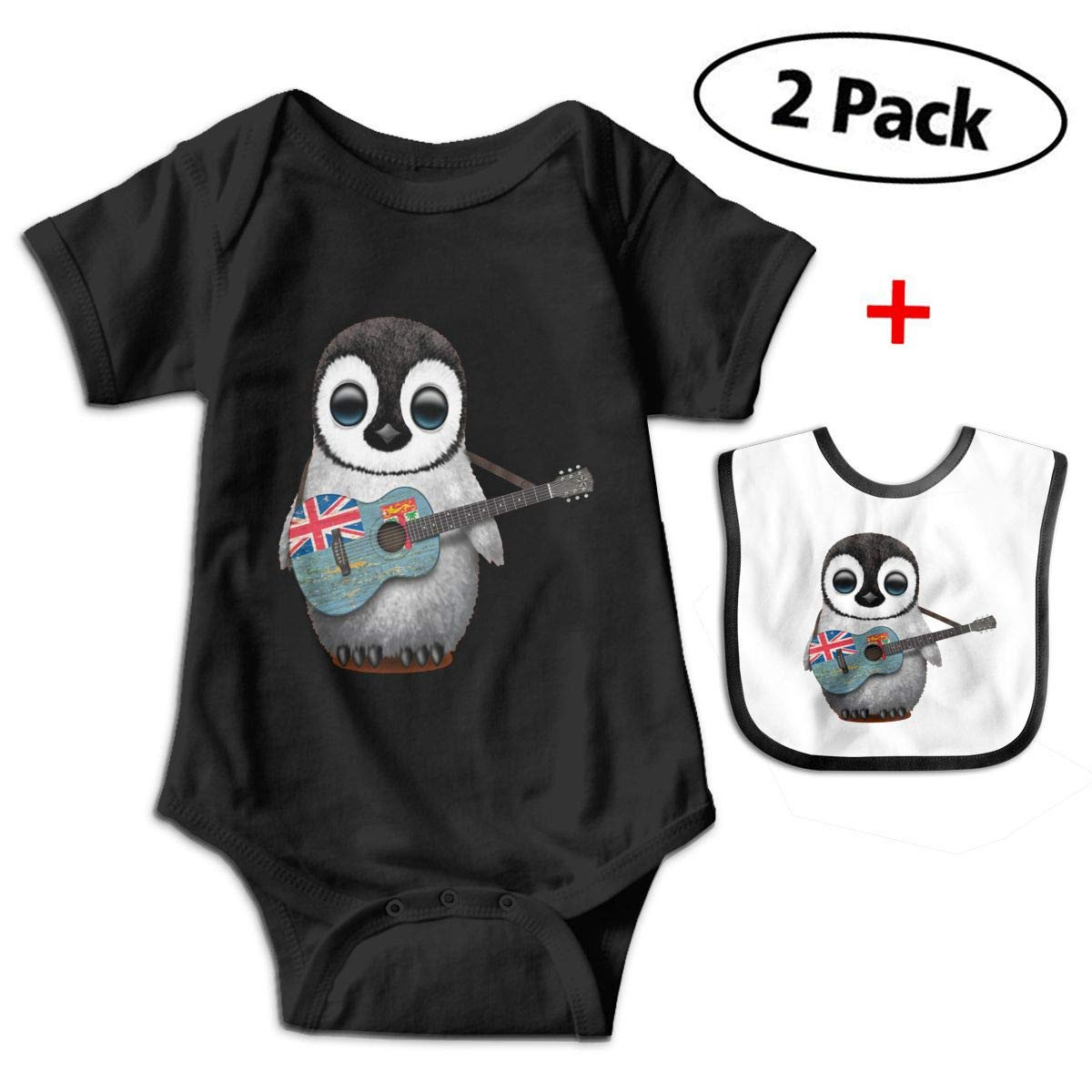 Baby Penguin Playing Fiji Flag Guitar Short Sleeve Baby Bodysuits, 100% Cotton Baby Suit For Girls Onesies SWT Honey
