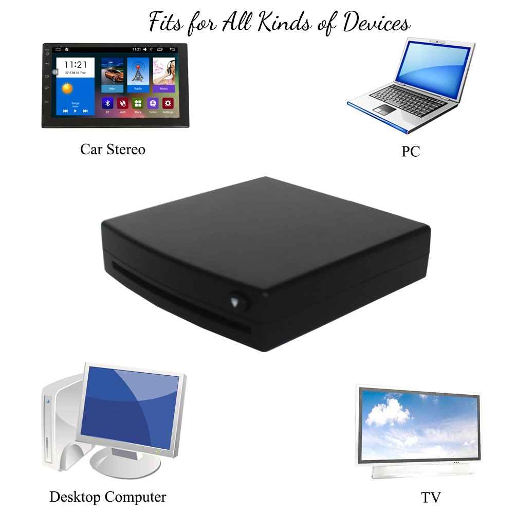 XISEDO External DVD Drive CD/DVD RW Burner Writer Drive DVD ROM Player External CD RW/DVD RW/CD RAM/DVD RAM Drive for Android Car Stereo, Laptop, PC, Desktop Computer (Black) by XISEDO (Image #5)