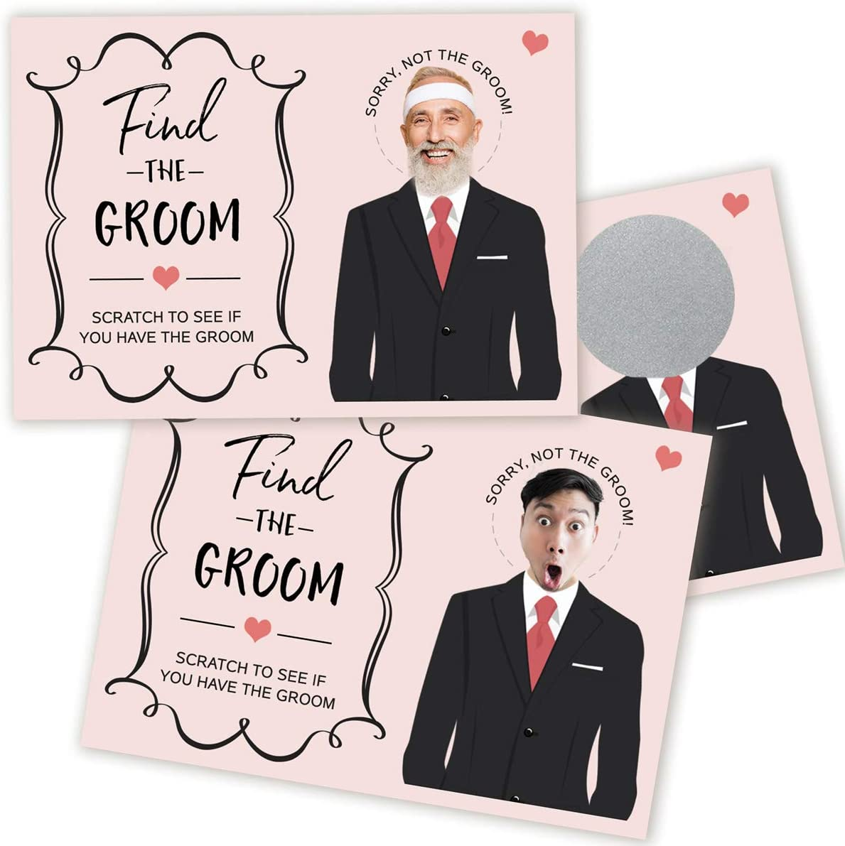 24 Personalized Bridal Shower Scratch Off Game Cards Pinks Bride and Groom