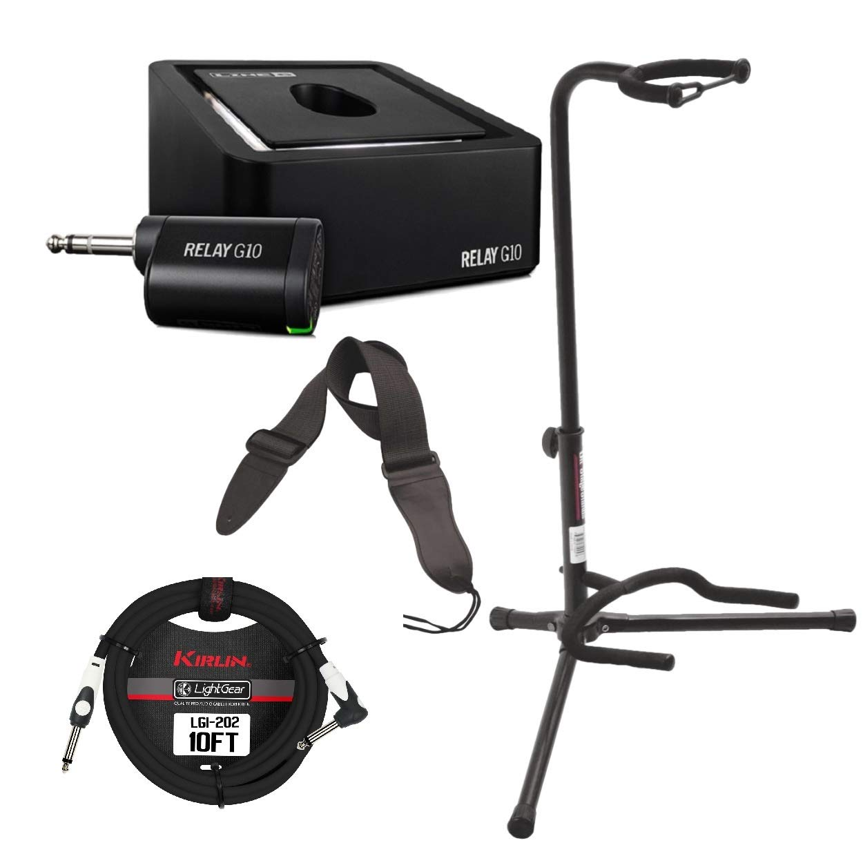Line 6 Relay G10 Digital Wireless Guitar System with Instrument Cable, Guitar Stand and Guitar Strap