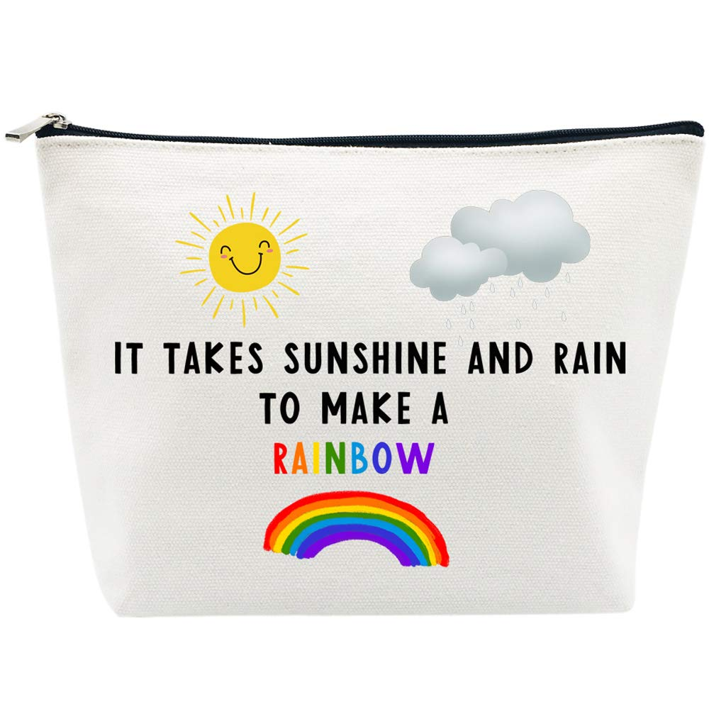 Inspirational Gifts for Women Birthday Sunshine and Rain Make Rainbow Friendship Gifts Makeup Bag Personalized Gifts Cheer Up Gifts for Teacher Nurse Coworker Going Away Gifts for Christmas
