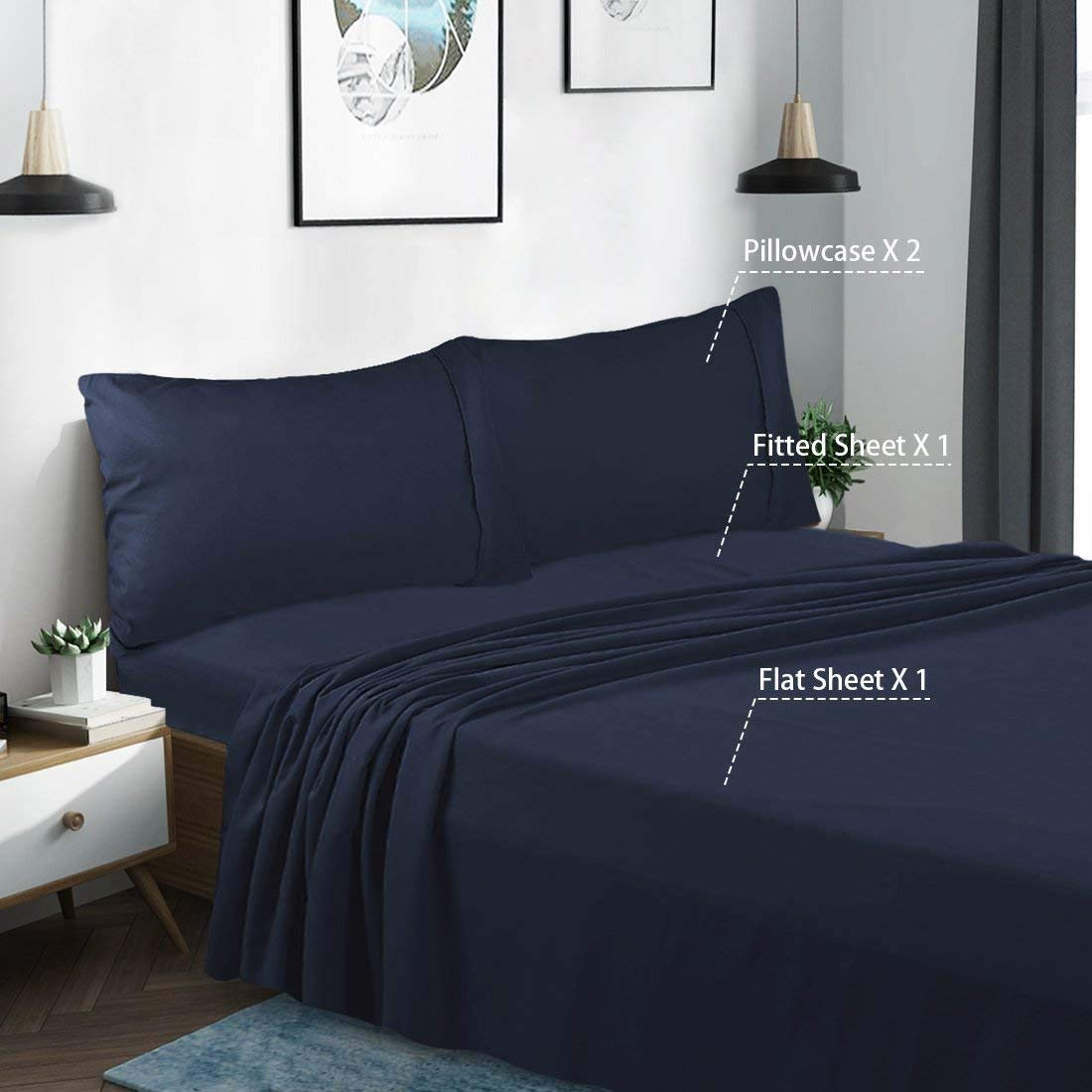 Breathable /& Soft 400 Thread Count WALETONE LINEN Full Size 4 PCs Bed Sheet Set Ivory Solid 100/% Pure Natural Cotton Durable Sheet Easy Fit 18 Deep Pockets