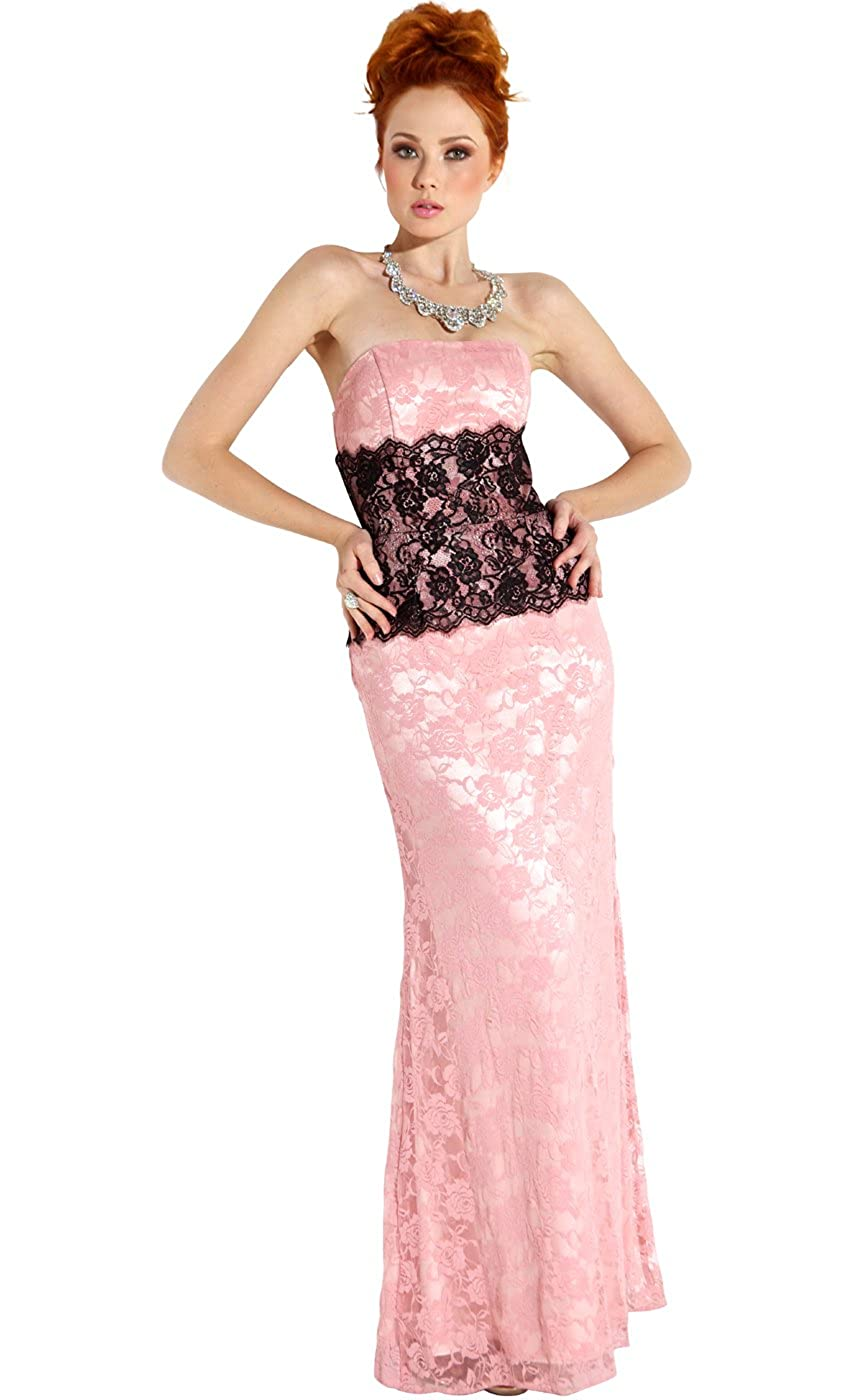Amazon.com: Strapless Lace Prom Bridesmaid Long Dress: Clothing