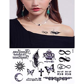 11a5e5767 Amazon.com : Heart Necklac - New 1 Infinity Gift Tattoo Temporary Waterproof  Body Henna Hand Neck Tattoo Sticker For Women Men Party : Beauty