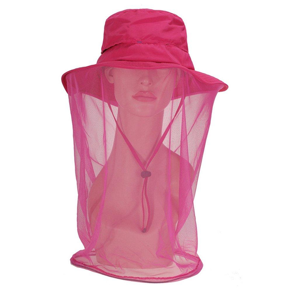 Al aire libre senderismo de las mujeres caza náutica pesca Safari tapa sol sombra sombrero del cubo con malla anti Mosquito mascarilla para OKEH