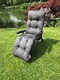 Plain Memory Foam Replacement Cushion For Garden Sun Lounger/Recliner/Chair   Grey   CUSHION ONLY