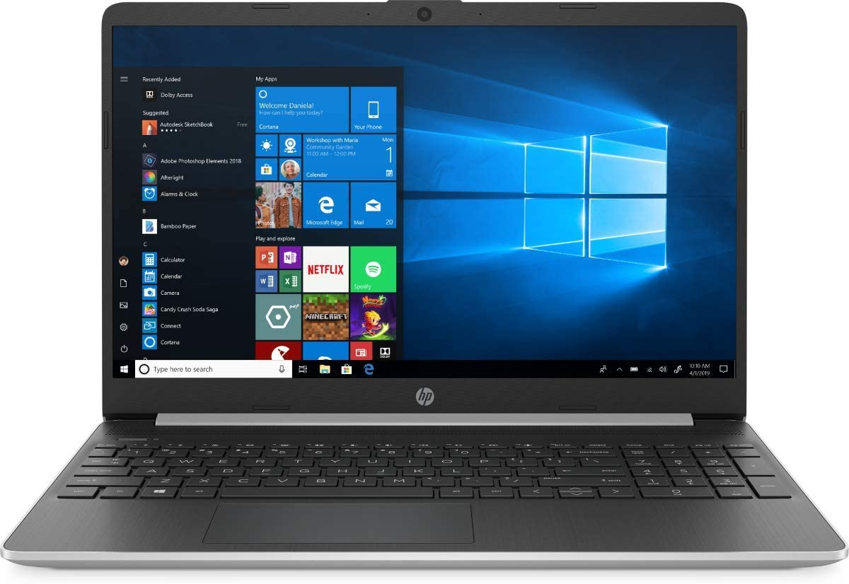 "2020 HP 15.6"" Touchscreen Laptop Computer 10th Gen Intel Quard-Core i7 1065G7 up to 3.9GHz 8GB DDR4 RAM 512GB PCIe SSD 802.11ac WiFi Bluetooth 4.2 USB 3.1 Type-C HDMI Silver Win10"