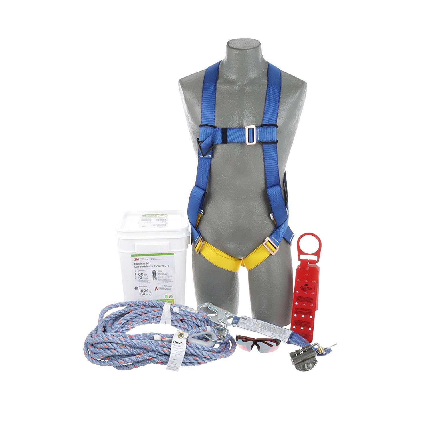 3M Protecta Compliance In A Can Light, Roofers Kit, 5-Point Universal Harness, Single Leg 6' Shock Absorbing Lanyard, 310 lb, 2199802 (Big White Bucket)