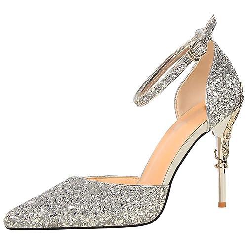 wealsex Escarpins Sandales Paillette Femme Talon Haut Aiguilles Sexy Bout  Pointu Bride Cheville Boucle Chaussure Elégant d3e99ae37a14