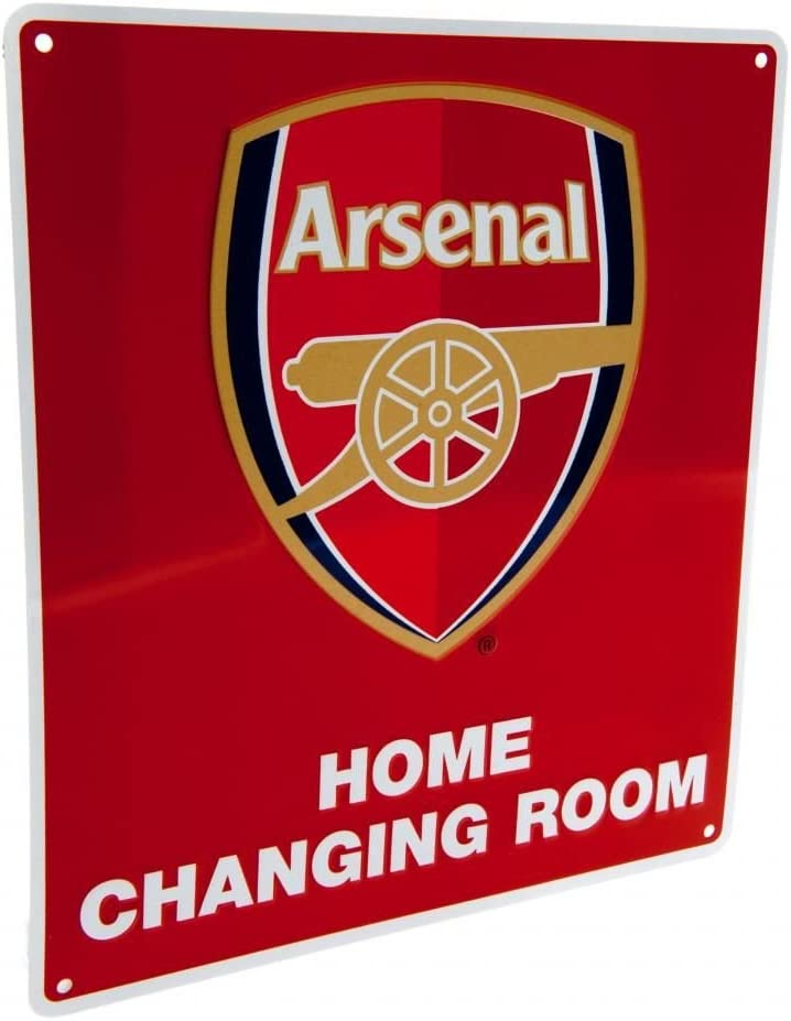 ARSENAL FC Official Home Changing Room Sign Metal Red Club Crest Gunners