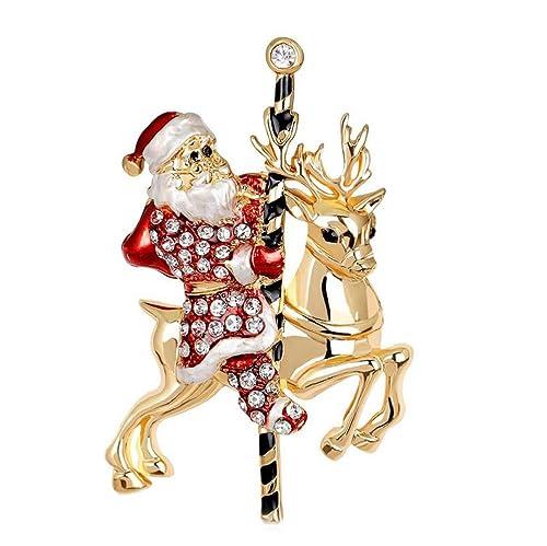 Broche con forma de Papá Noel  y reno para fiesta de navidad.