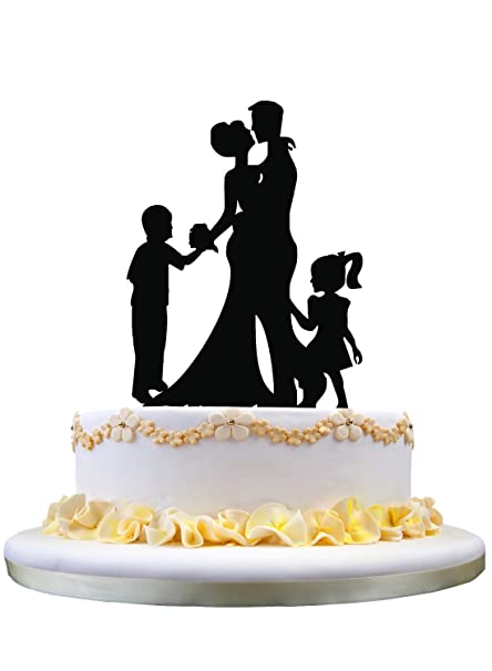 Amazon Com Wedding Anniversary Cake Topper Couple With 2 Kids Girl