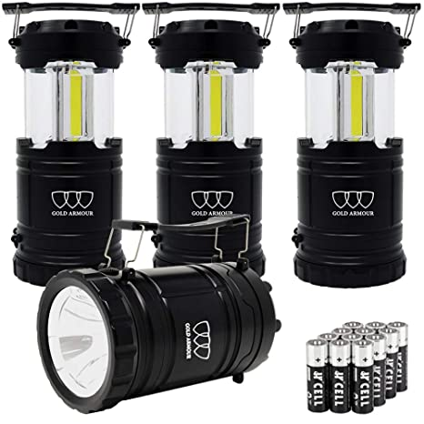 Survival Kit for Emergency Hurricane Power Outage Great Gold Armour 4 Pack LED Camping Lantern Portable Flashlight with 12 aa Batteries