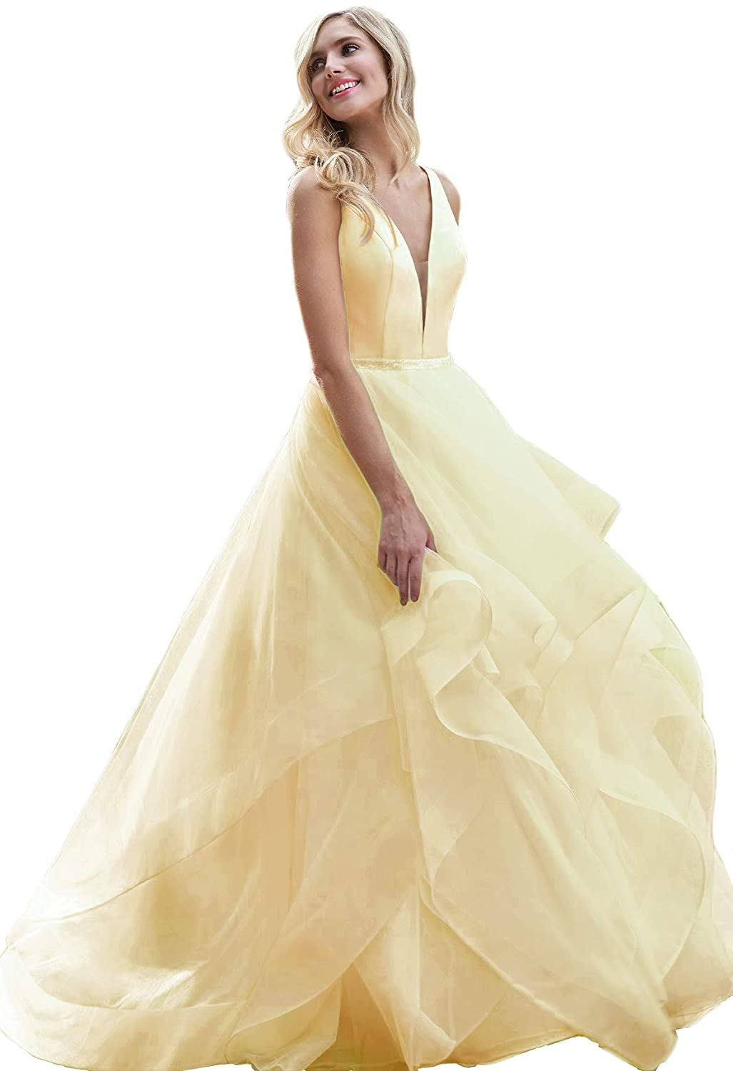 Yellow liangjinsmkj Sweet 16 Girl's Boat Neck Ball Gown Backless Crystal Beaded Bodice Tulle Quinceanera Dresses