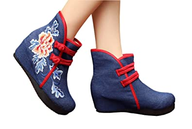 Womens Peony Embroidery Wedge Heel Ankle Booties