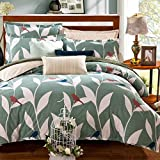 TheFit Paisley Textile Bedding for Adult U765 Green Leaf and Birds Duvet Cover Set 100% Cotton, Queen Set, 4 Pieces
