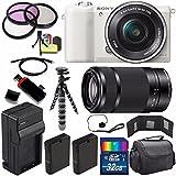 Sony Alpha a5100 Mirrorless Digital Camera with 16-50mm Lens (White) + Sony E 55-210mm f/4.5-6.3 OSS E-Mount Lens 32GB Bundle 23 - International Version (No Warranty)