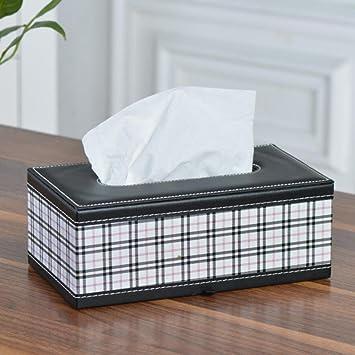 ZC&J Cajas de papel hechas a mano de cuero del tartán de la textura del cuero