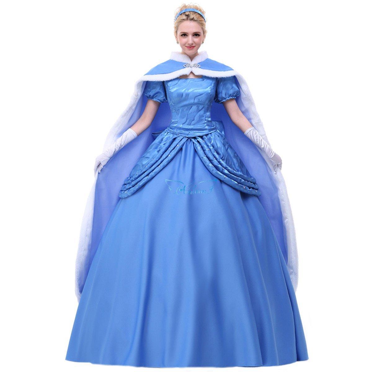 Angelaicos Womens Handmade Party Elegant Costume Dresses Cloak Petticoat (L, Satin Royal Blue) by Angelaicos