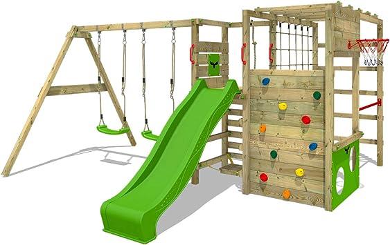 FATMOOSE Parque infantil de madera ActionArena con columpio y tobogán manzana verde, Área de juegos da exterior, pared de escalada Sueco con pared de ...